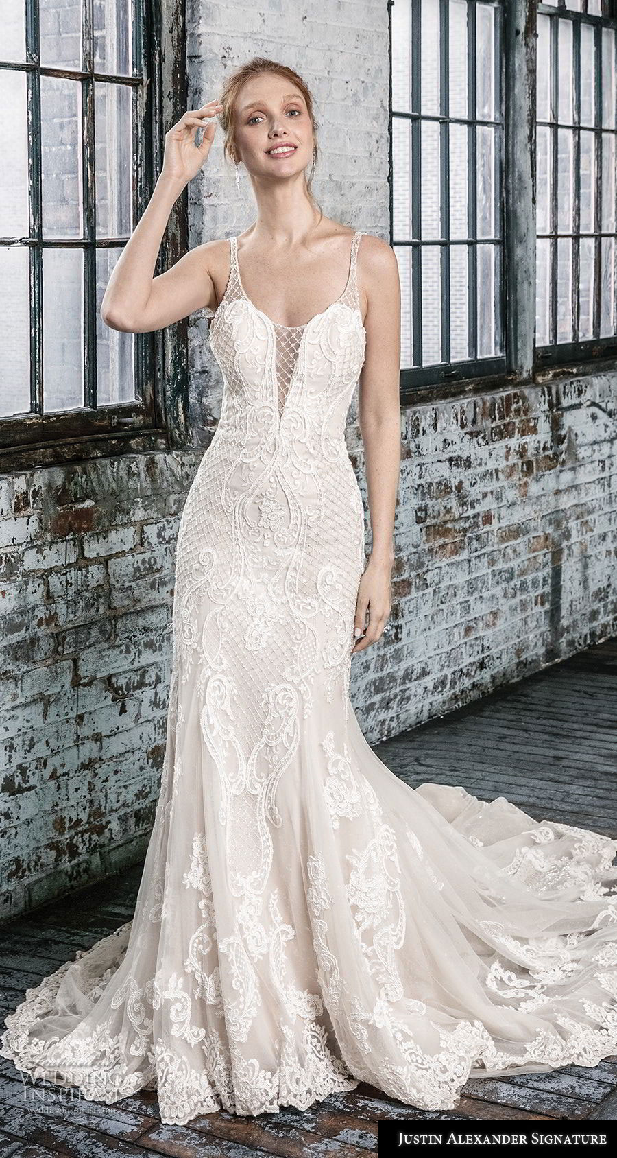 justin alexander fall 2018 signature sleeveless with strap illusion scoop deep plunging sweetheart neckline full embellishment elegant fit and flare wedding dress open back chapel train (5) mv