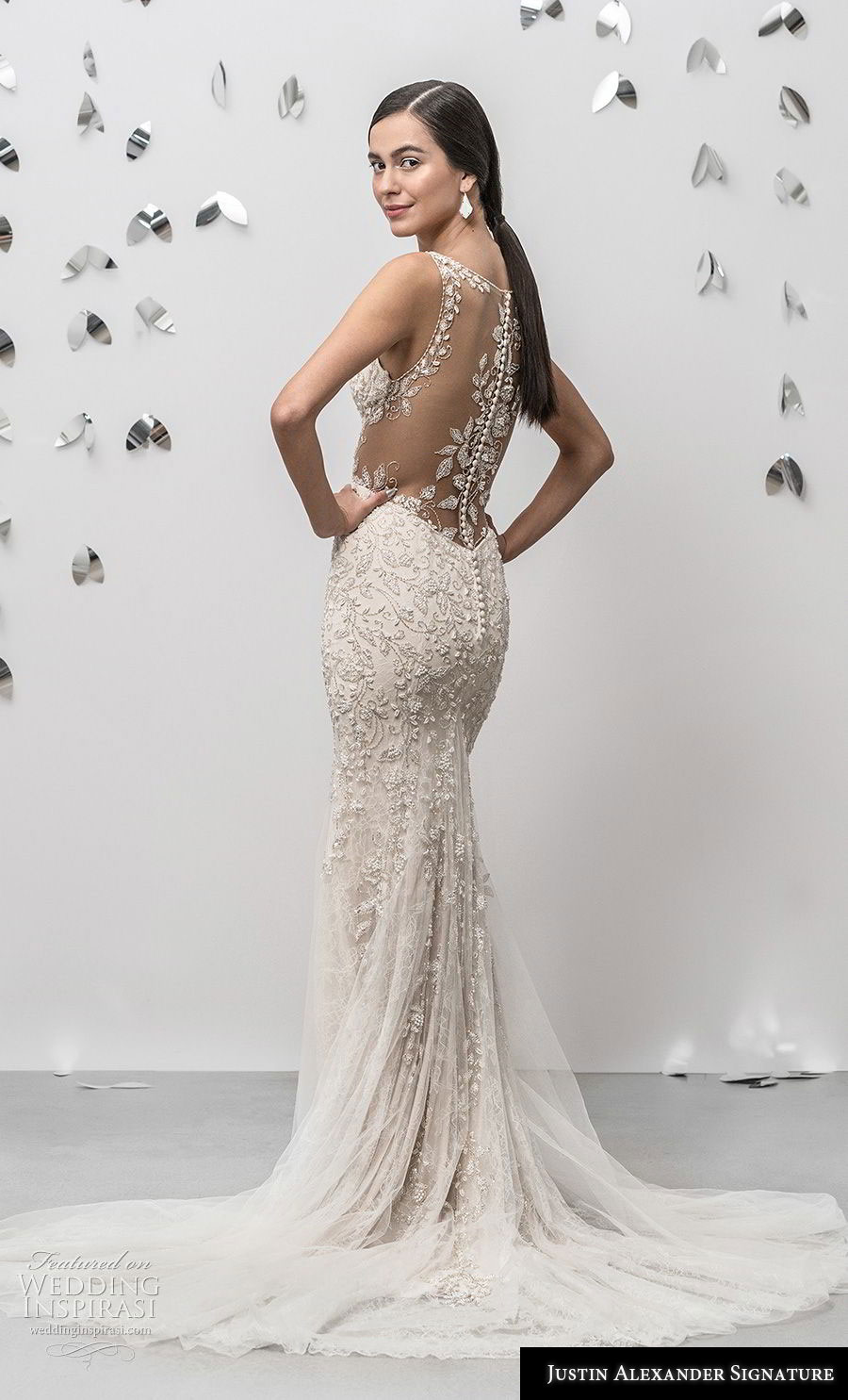 justin alexander fall 2018 signature sleeveless with strap v neck heavily embellished bodice elegant champagne sheath fit and flare wedding dress sheer button back chapel train (18) bv