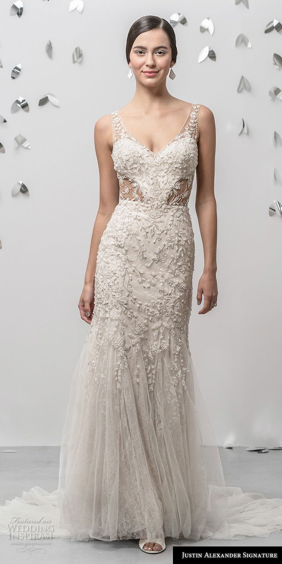 justin alexander fall 2018 signature sleeveless with strap v neck heavily embellished bodice elegant champagne sheath fit and flare wedding dress sheer button back chapel train (18) mv