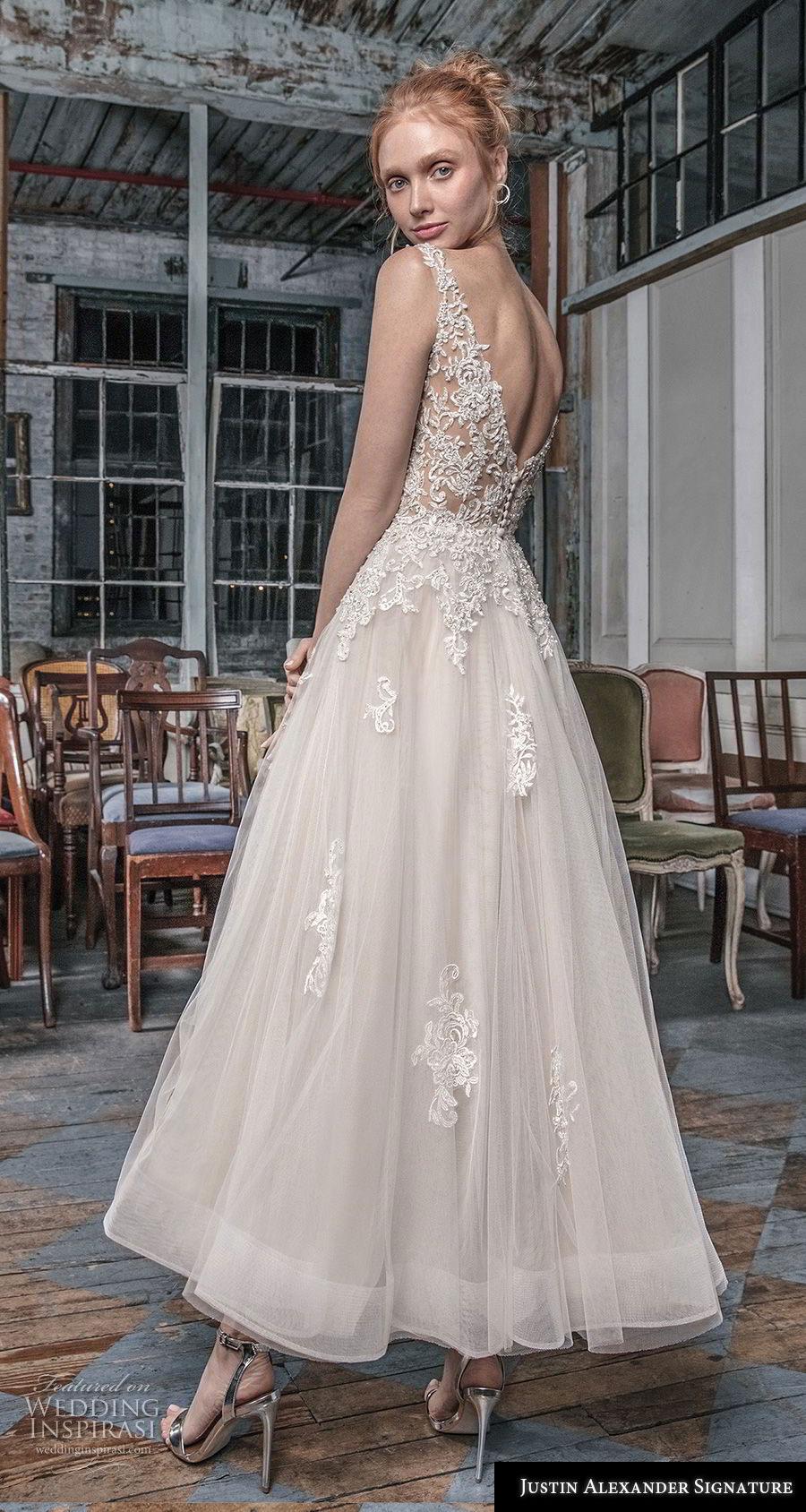 justin alexander fall 2018 signature sleeveless with strap v neck heavily embellished bodice romantic tea length short wedding dress open v back (15) bv