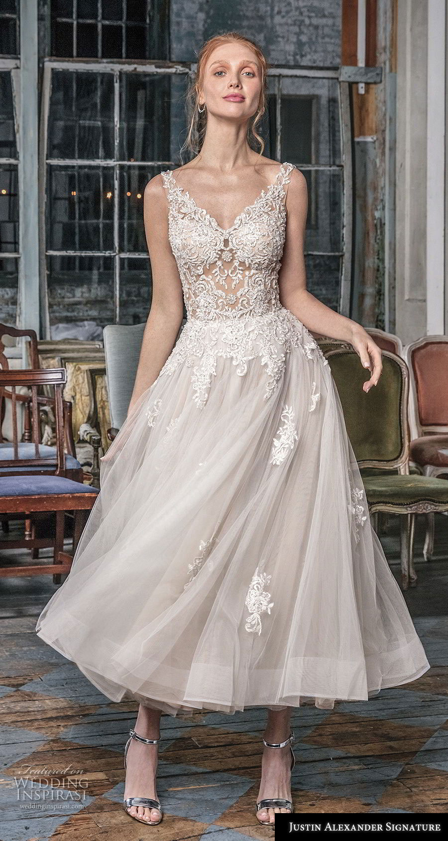 justin alexander fall 2018 signature sleeveless with strap v neck heavily embellished bodice romantic tea length short wedding dress open v back (15) mv