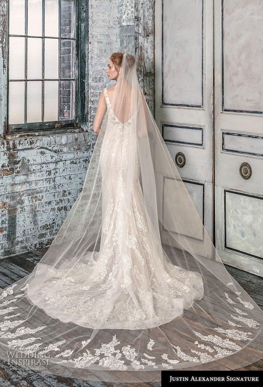 justin alexander fall 2018 signature sleevess with strap deep v neck full embellishment elegant mermaid wedding dress open back chapel train (2) bv