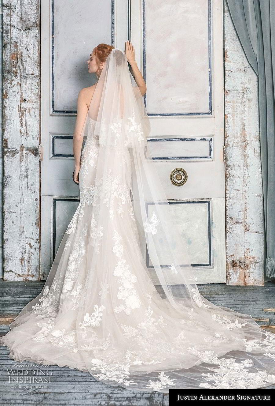 justin alexander fall 2018 signature strapless sweetheart neckline full embellishment bustier romantic mermaid wedding dress chapel train (3) bv