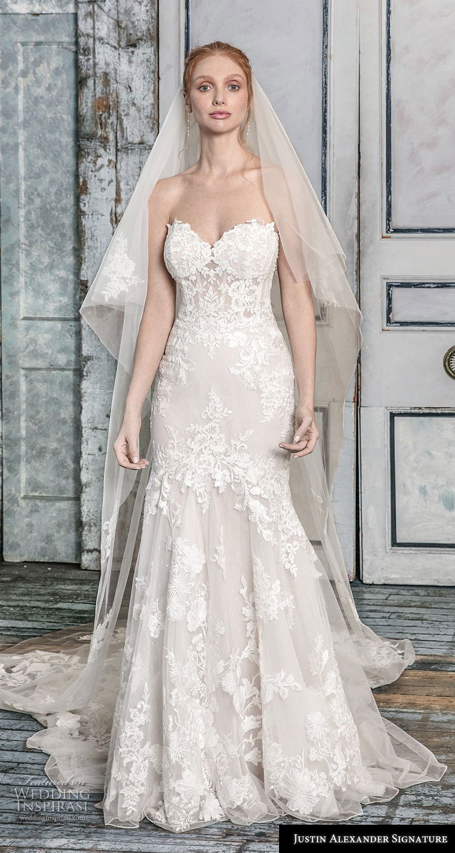 justin alexander fall 2018 signature strapless sweetheart neckline full embellishment bustier romantic mermaid wedding dress chapel train (3) mv