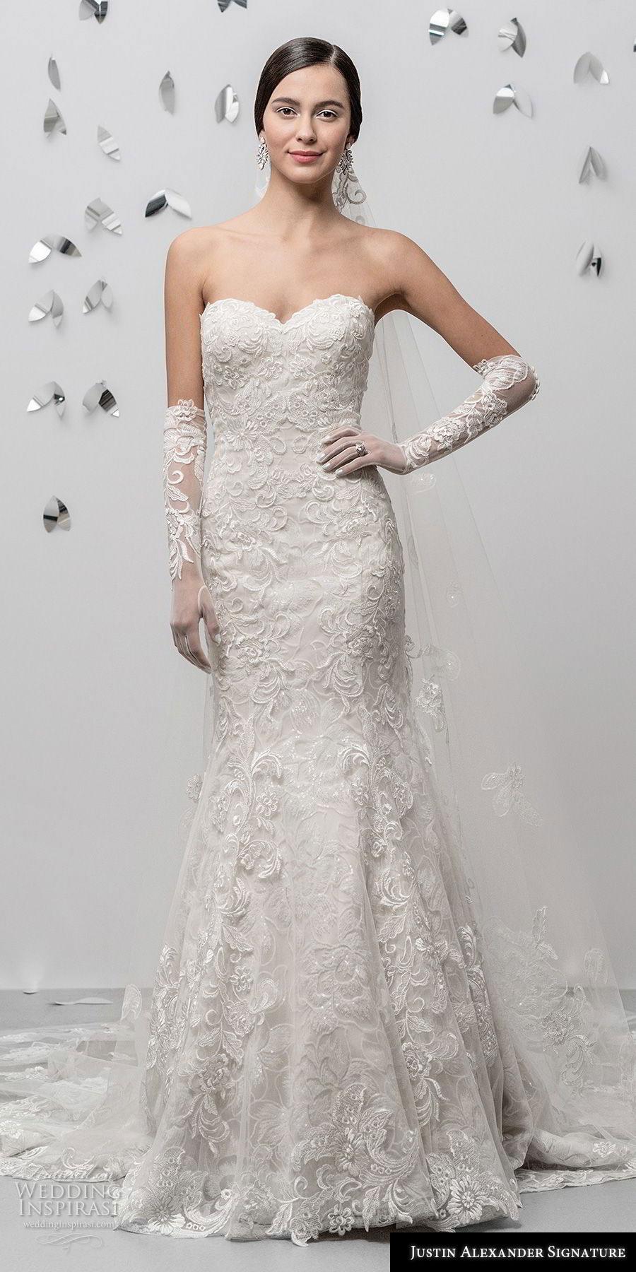 justin alexander fall 2018 signature strapless sweetheart neckline full embellishment elegant fit and flare wedding dress chapel train (17) mv
