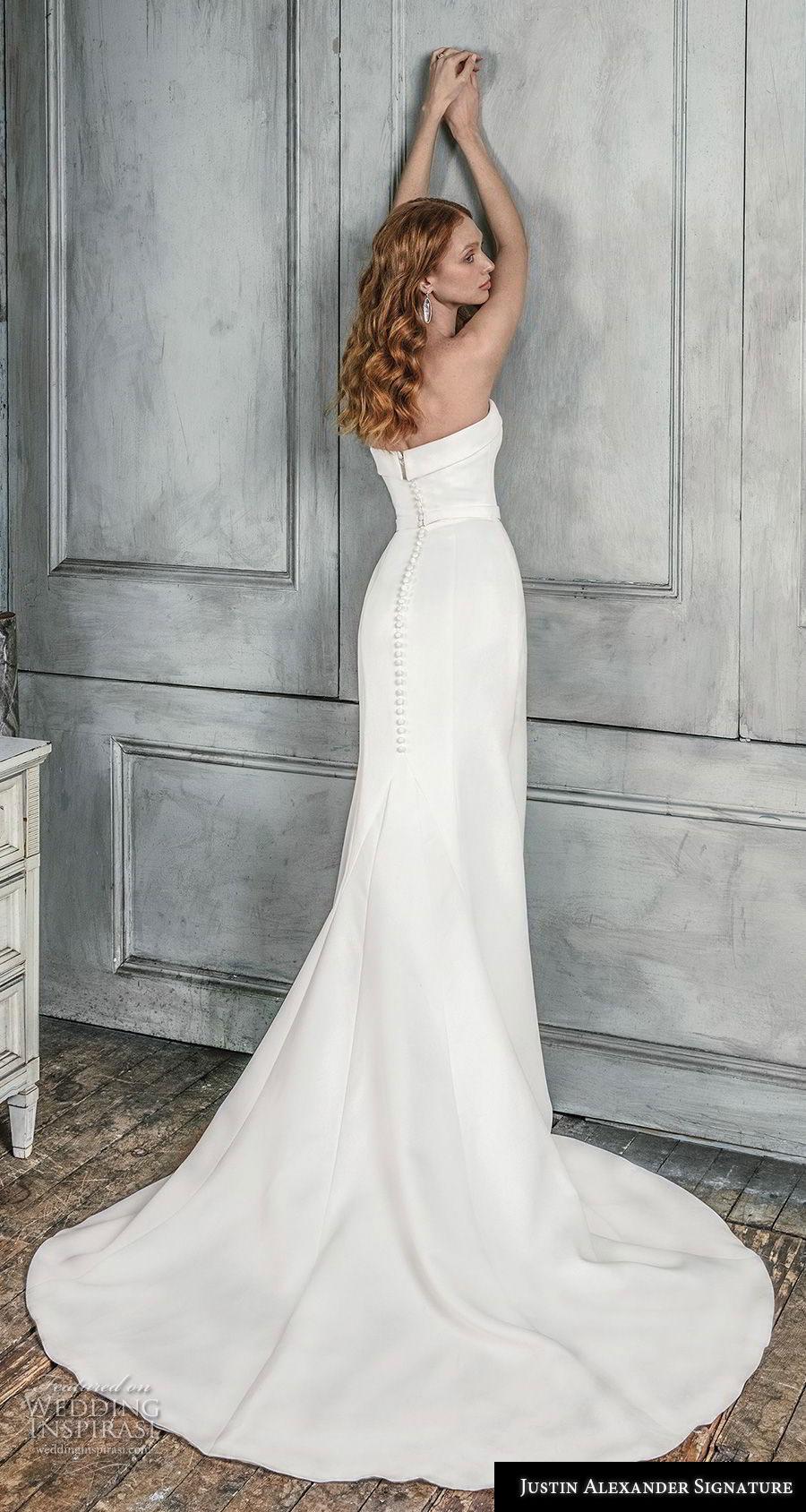 justin alexander fall 2018 signature strapless sweetheart neckline simple minimalist elegant trumpet wedding dress medium train (13) bv