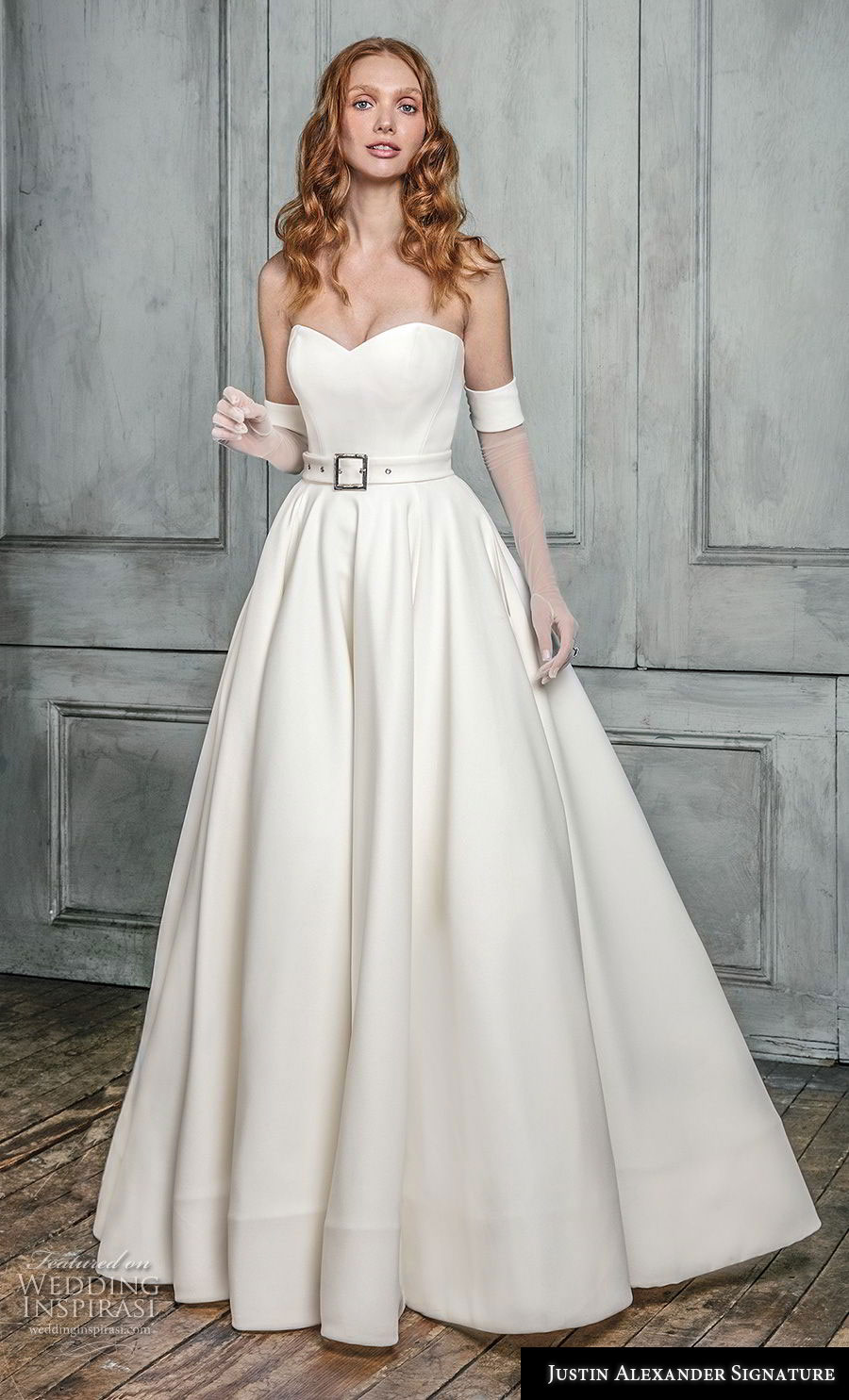 justin alexander fall 2018 signature strapless sweetheart neckline simple minimalist with belt romantic elegant classy a  line wedding dress chapel train (4) mv