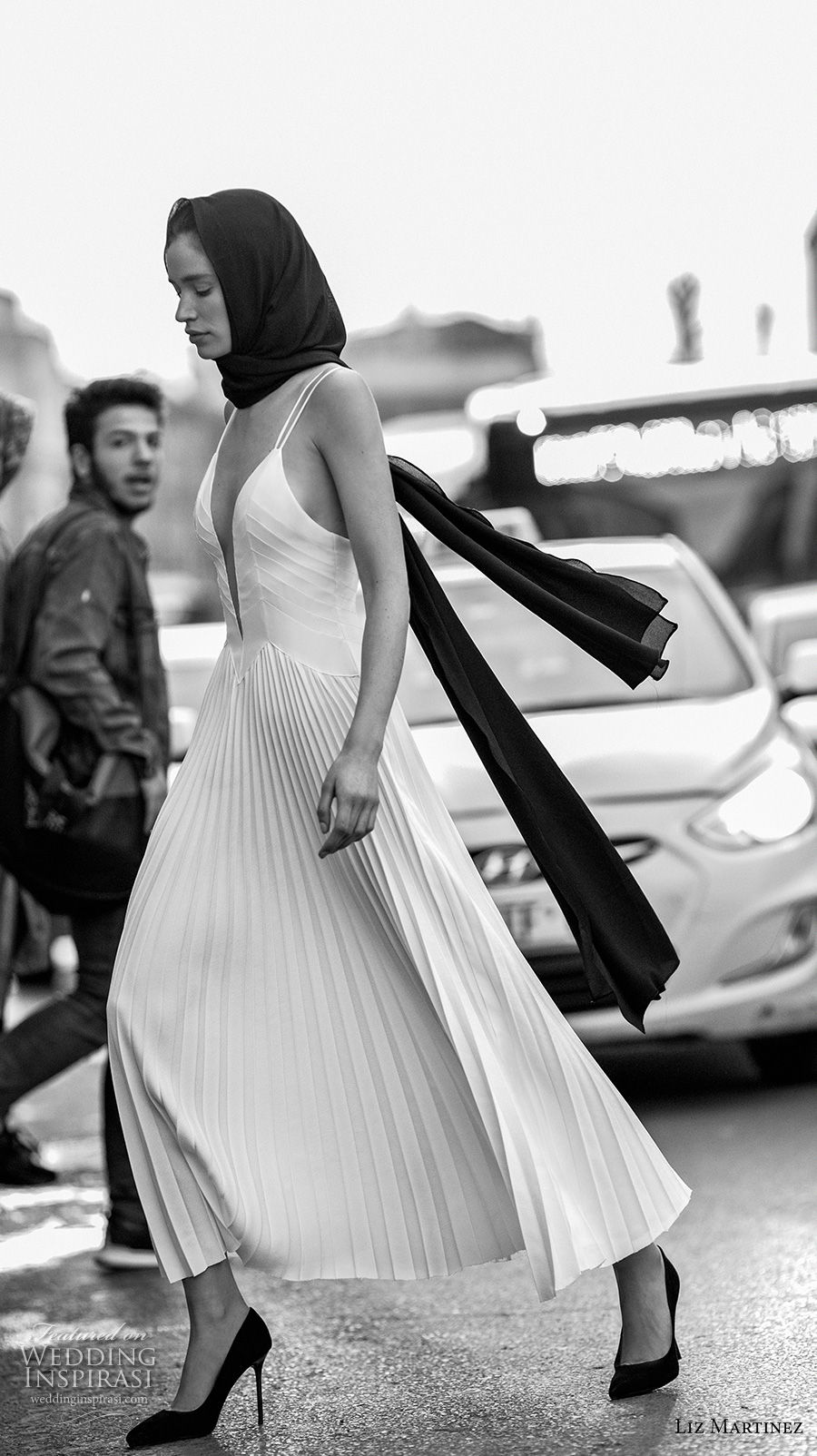 liz martinez 2019 bridal double strap deep plunging sweetheart neckline simple pleated skirt modern sophiscated ankle length a  line wedding dress open back (14) sdv
