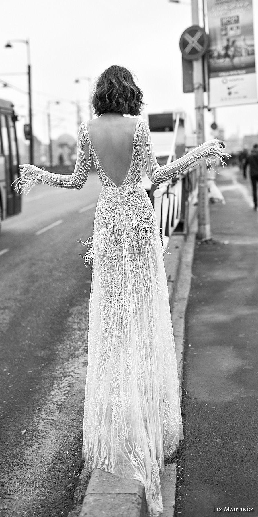 liz martinez 2019 bridal long sleeves deep v neck full embellishement fringes glamorous modern modified wedding dress open v back sweep train (7) bv