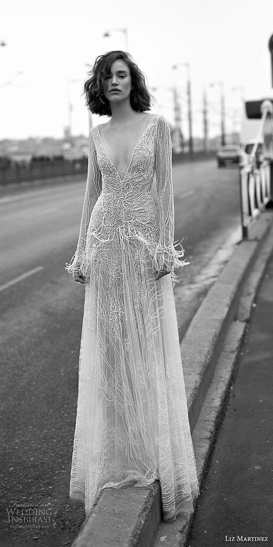 liz martinez 2019 bridal long sleeves deep v neck full embellishement fringes glamorous modern modified wedding dress open v back sweep train (7) mv