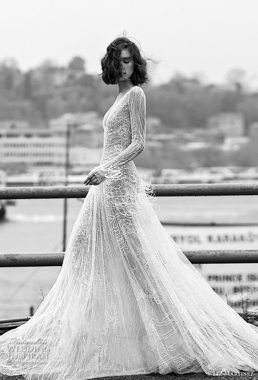 liz martinez 2019 bridal long sleeves deep v neck full embellishement fringes glamorous modern modified wedding dress open v back sweep train (7) sdv