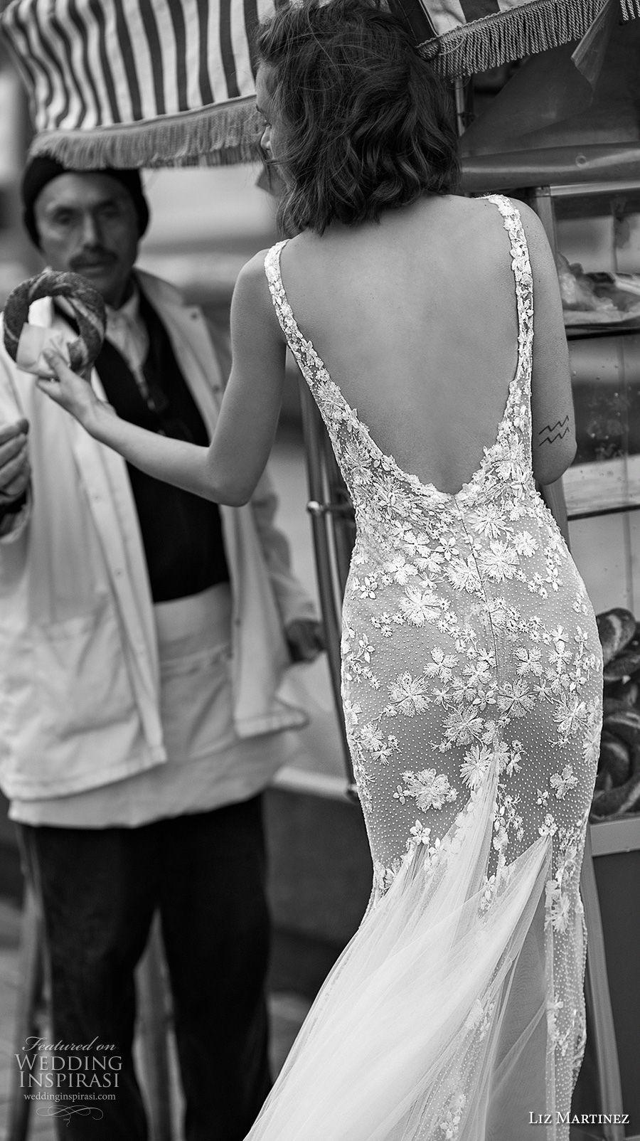 liz martinez 2019 bridal sleeveless deep plunging v neck heavily embellished bodice romantic mermaid wedding dress open v back (6) bv