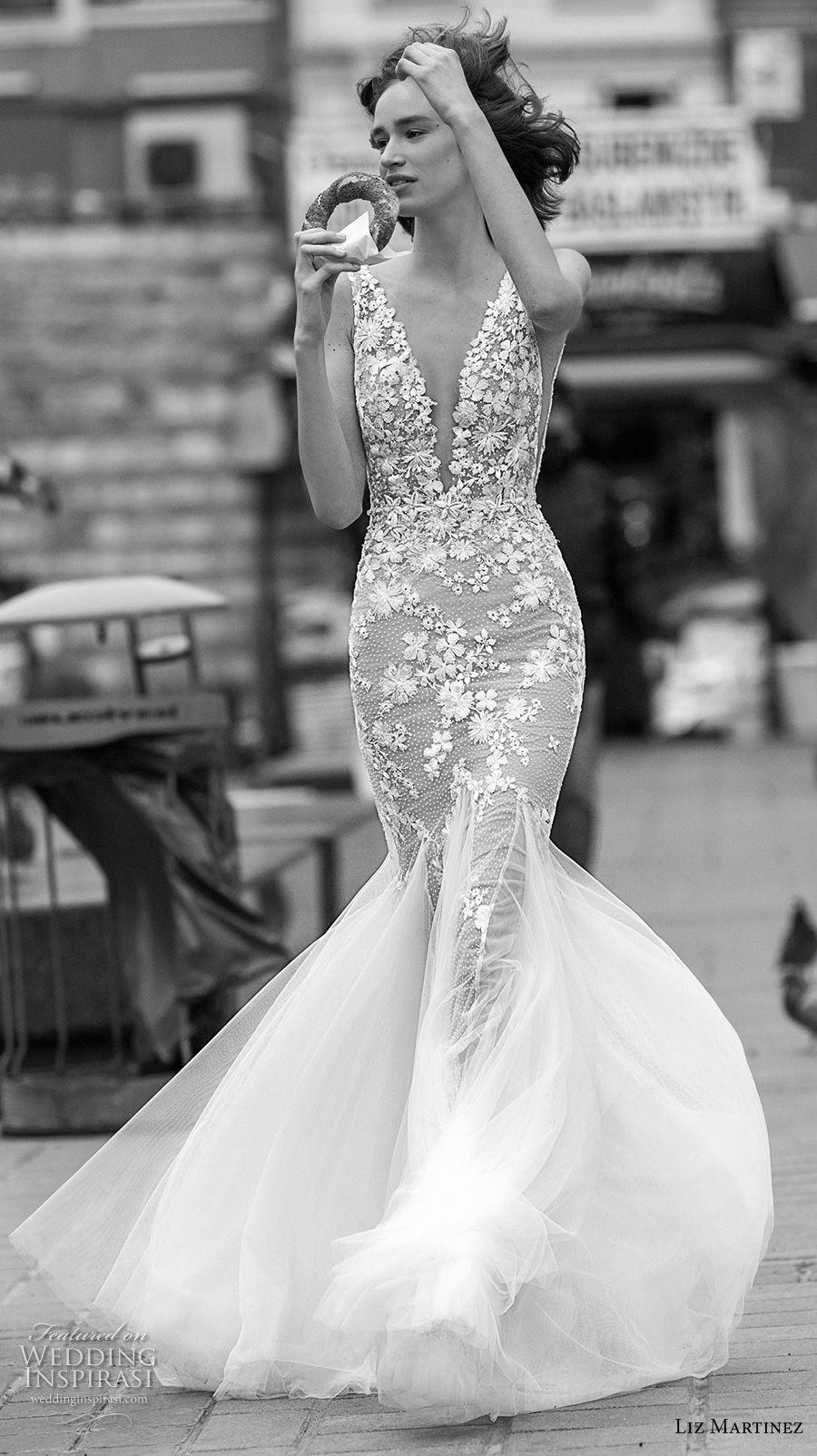 liz martinez 2019 bridal sleeveless deep plunging v neck heavily embellished bodice romantic mermaid wedding dress open v back (6) mv