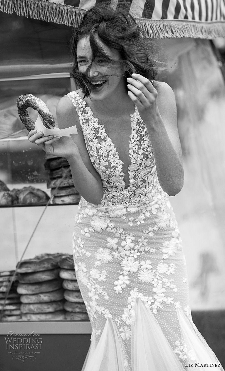 liz martinez 2019 bridal sleeveless deep plunging v neck heavily embellished bodice romantic mermaid wedding dress open v back (6) zv