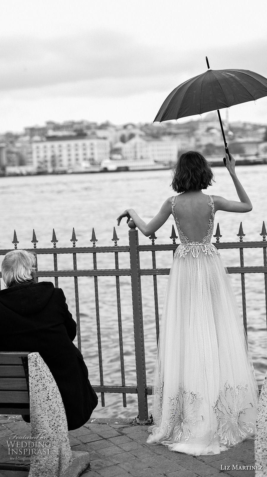 liz martinez 2019 bridal sleeveless deep plunging v neck heavily embellished bodice romantic sexy soft a  line wedding dress open back sweep train (8) bv