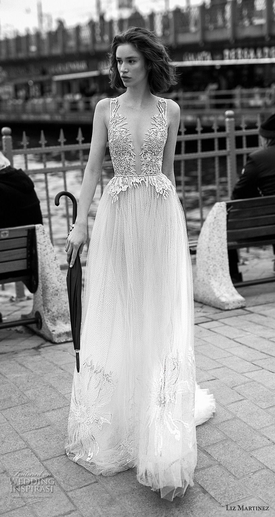 liz martinez 2019 bridal sleeveless deep plunging v neck heavily embellished bodice romantic sexy soft a  line wedding dress open back sweep train (8) mv