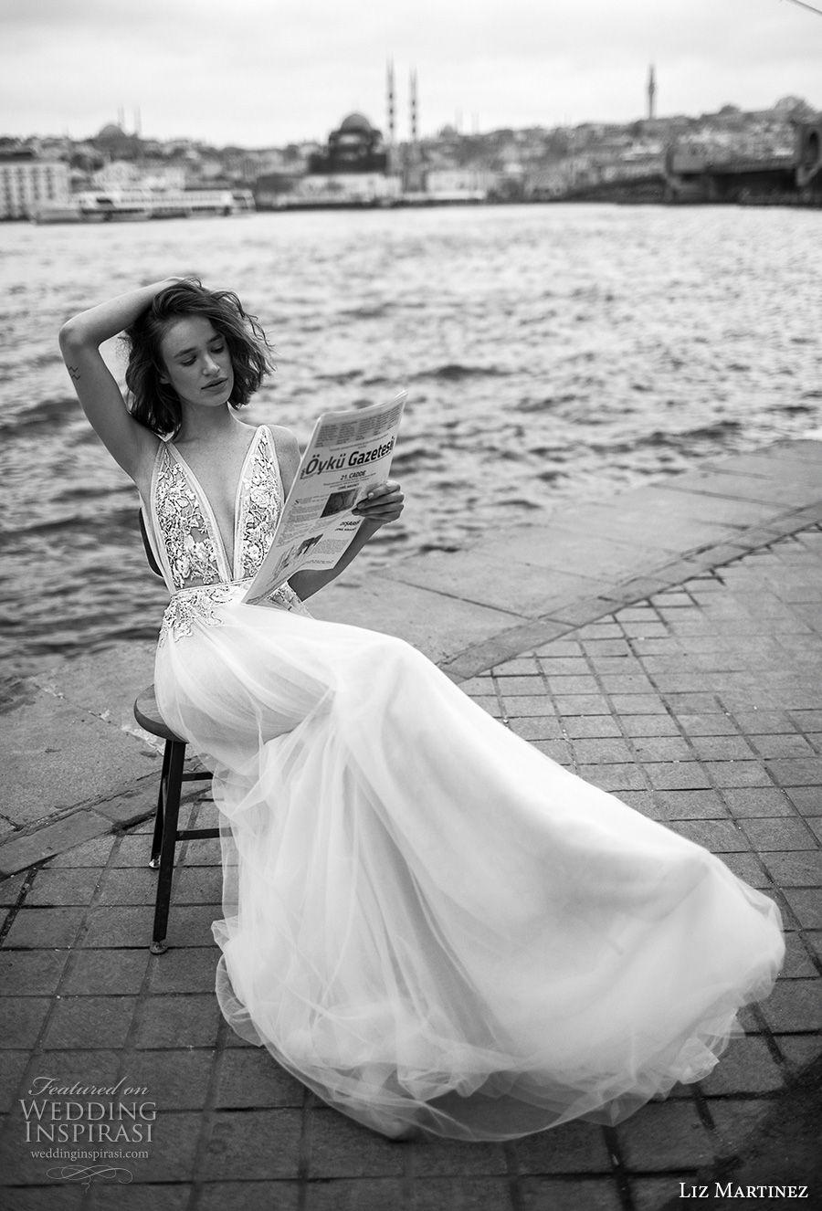 liz martinez 2019 bridal sleeveless deep plunging v neck heavily embellished bodice romantic soft a  line wedding dress open v back chapel train (10) mv