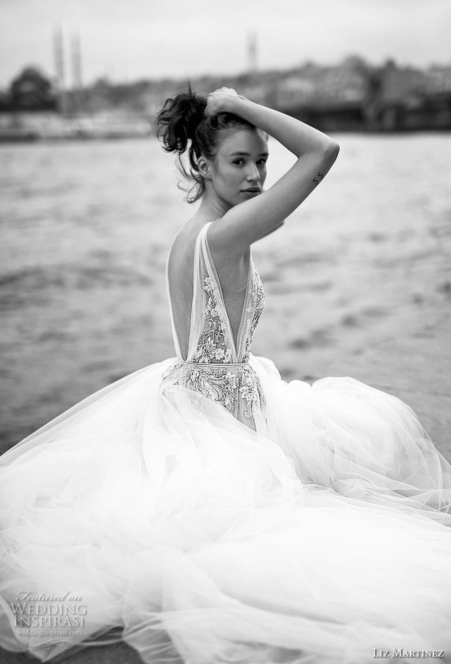 liz martinez 2019 bridal sleeveless deep plunging v neck heavily embellished bodice romantic soft a  line wedding dress open v back chapel train (10) sdv