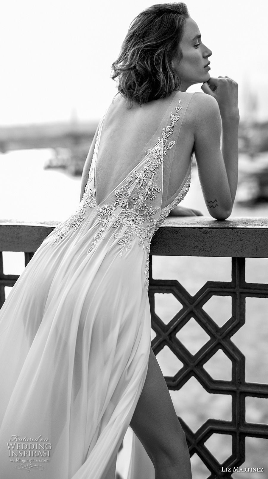 liz martinez 2019 bridal sleeveless deep v neck heavily embellished bodice slit skirt romantic sexy soft a  line wedding dress open v back (9) bv