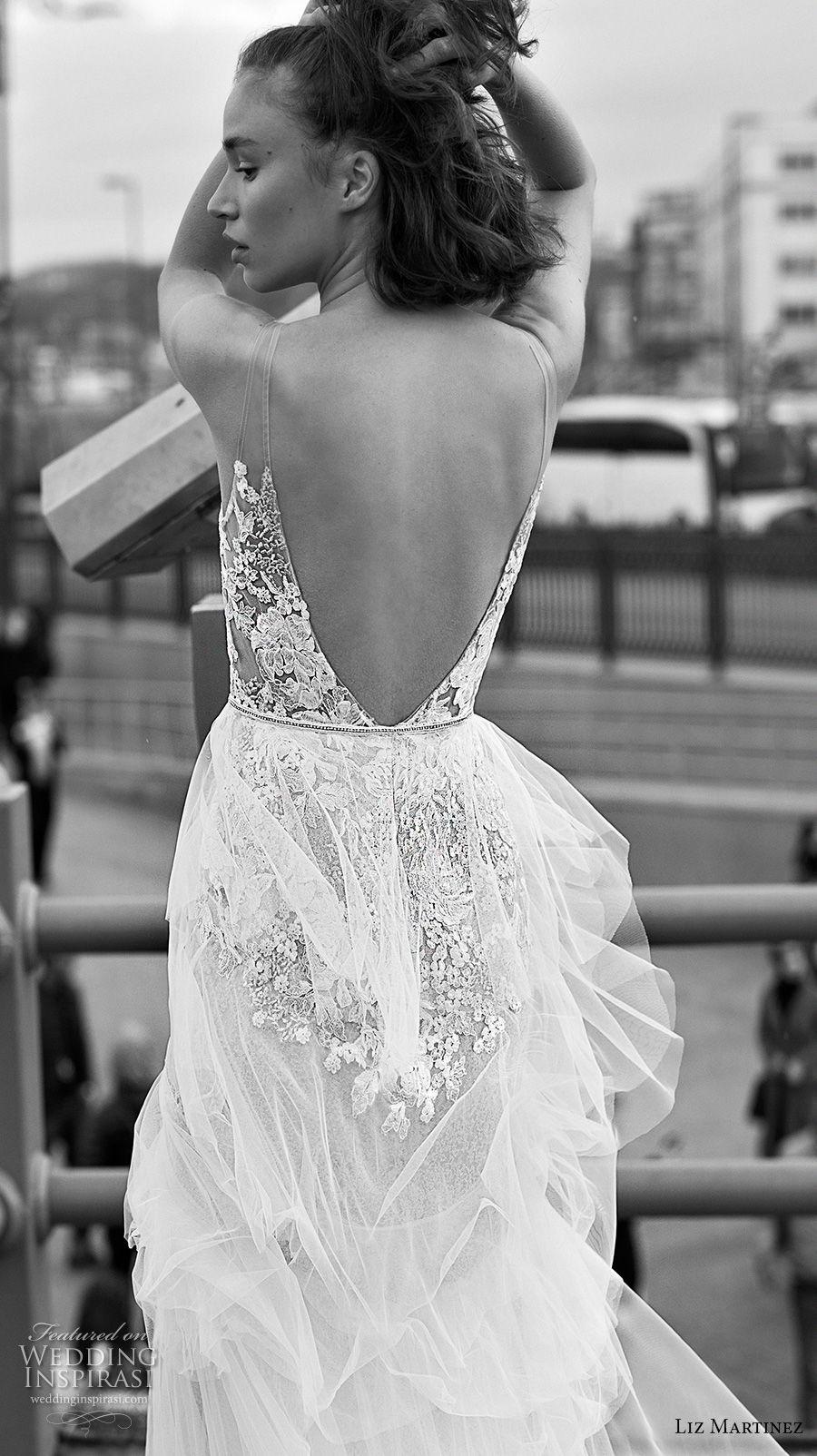 liz martinez 2019 bridal sleeveless deep v neck heavily embellished bodice tiered skirt romantic modified a  line wedding dress open v back chapel train (4) bv