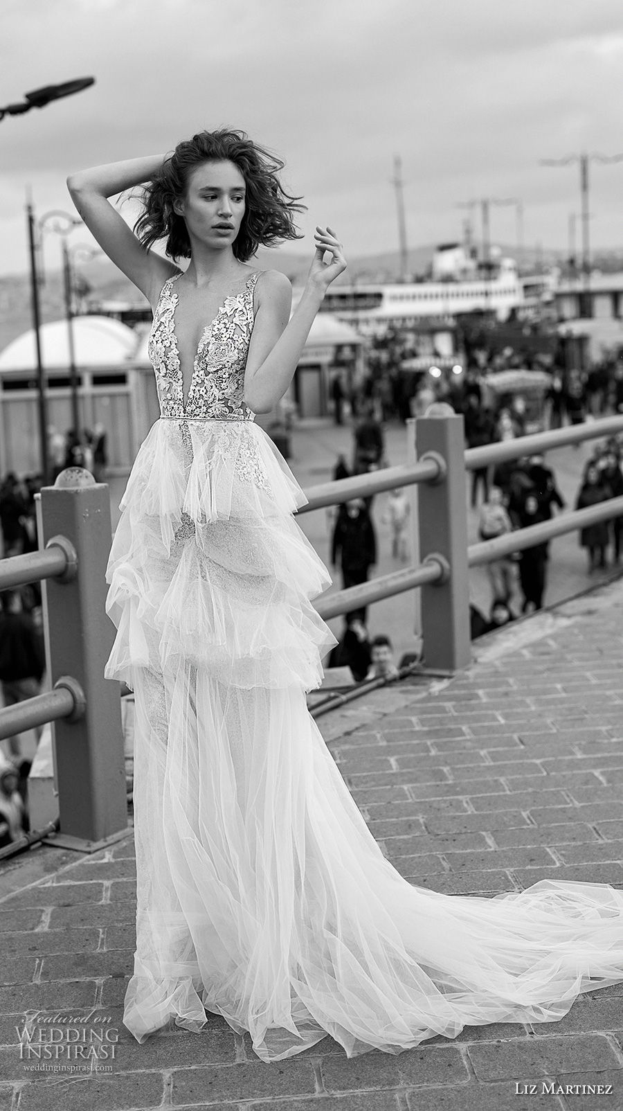 liz martinez 2019 bridal sleeveless deep v neck heavily embellished bodice tiered skirt romantic modified a  line wedding dress open v back chapel train (4) mv