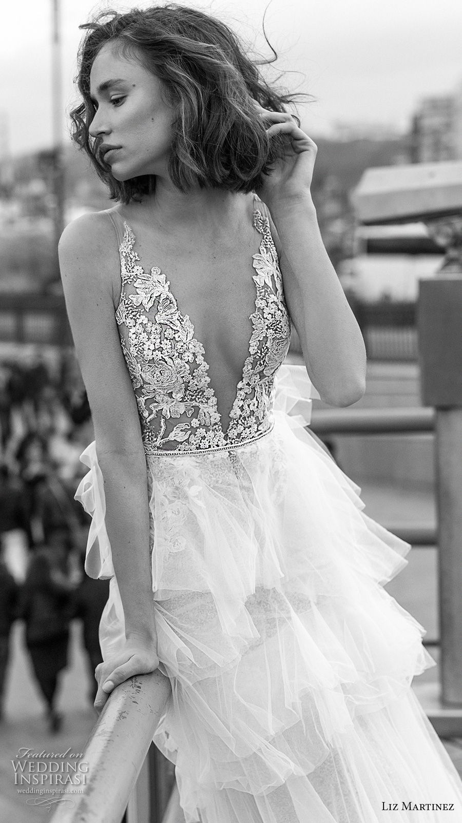 liz martinez 2019 bridal sleeveless deep v neck heavily embellished bodice tiered skirt romantic modified a  line wedding dress open v back chapel train (4) zv