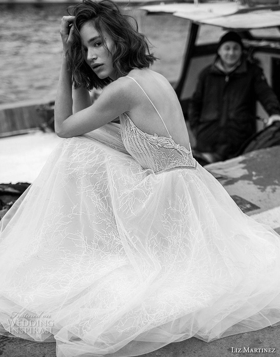 liz martinez 2019 bridal sleeveless deep v neck heavily embellished bodice tulle skirt romantic soft a  line wedding dress open back sweep train (12) bv