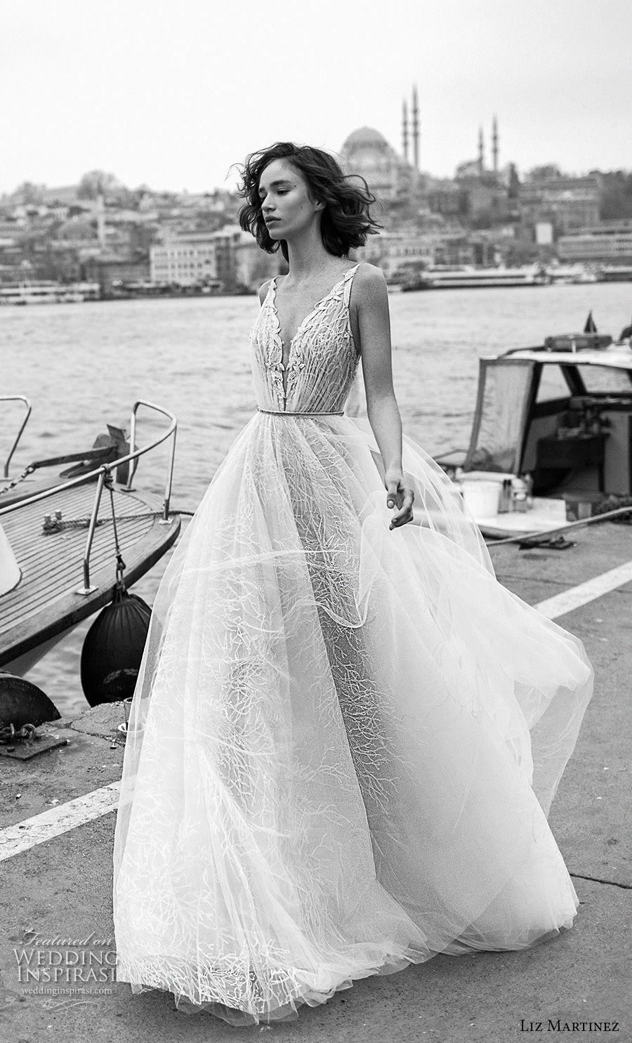 liz martinez 2019 bridal sleeveless deep v neck heavily embellished bodice tulle skirt romantic soft a  line wedding dress open back sweep train (12) mv