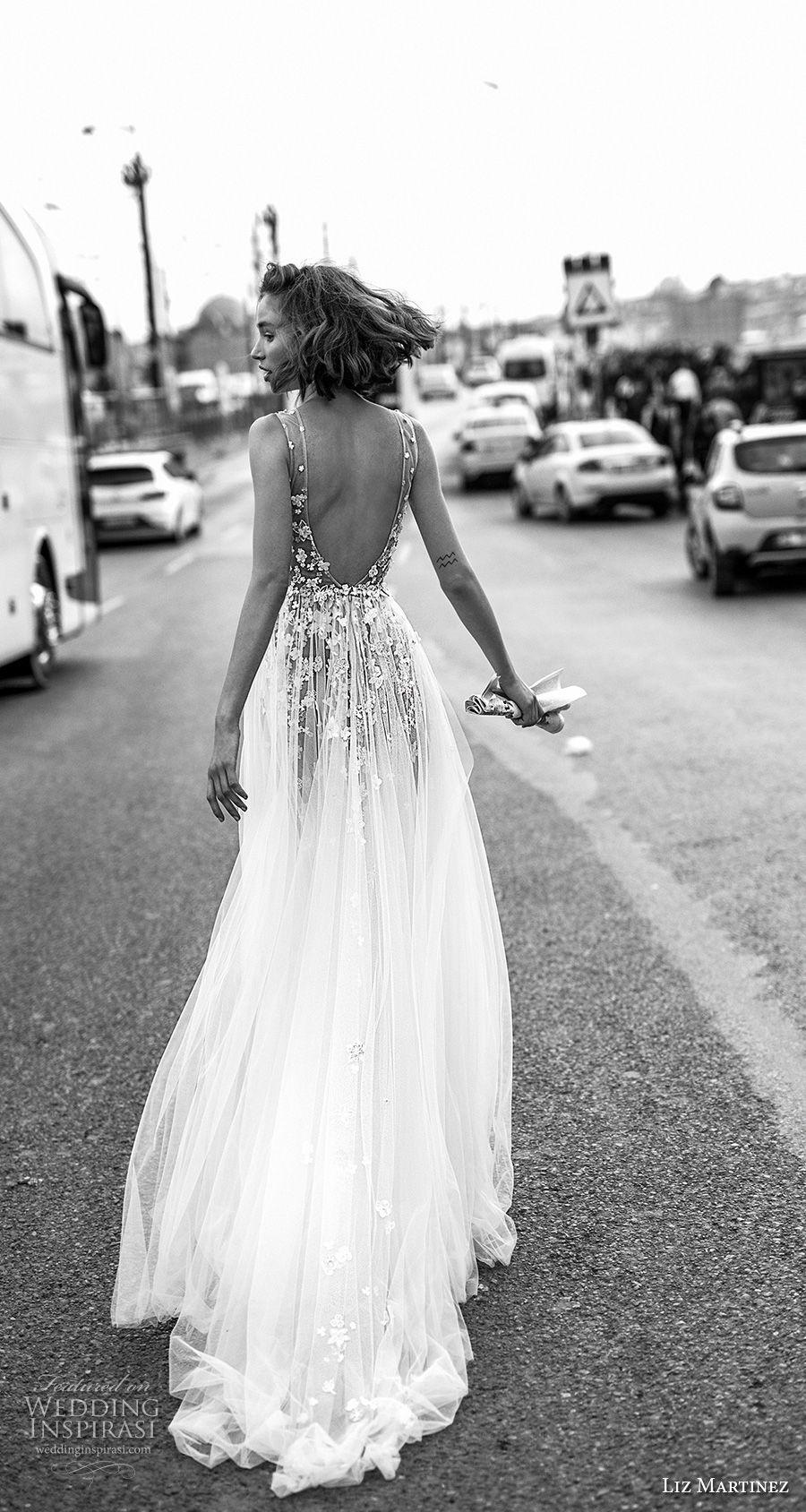 liz martinez 2019 bridal sleeveless deep v neck heavily embellished bodice tulle skirt romantic soft a  line wedding dress open scoop back chapel train (1) bv