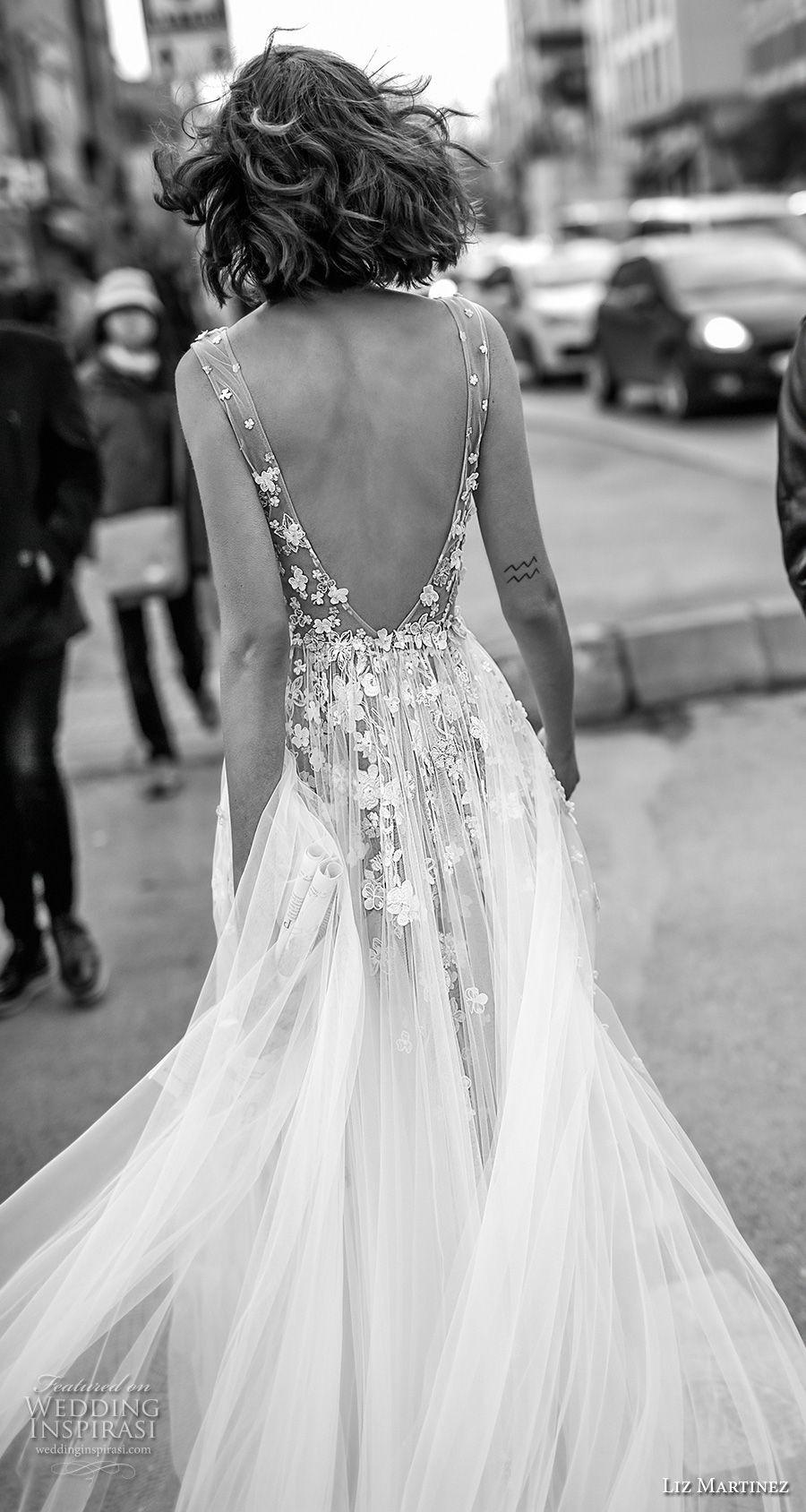 liz martinez 2019 bridal sleeveless deep v neck heavily embellished bodice tulle skirt romantic soft a  line wedding dress open scoop back chapel train (1) zbv