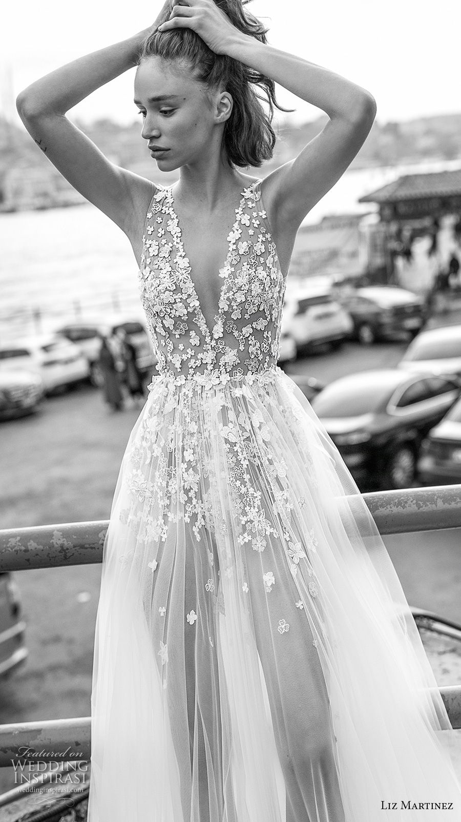 liz martinez 2019 bridal sleeveless deep v neck heavily embellished bodice tulle skirt romantic soft a  line wedding dress open scoop back chapel train (1) zv