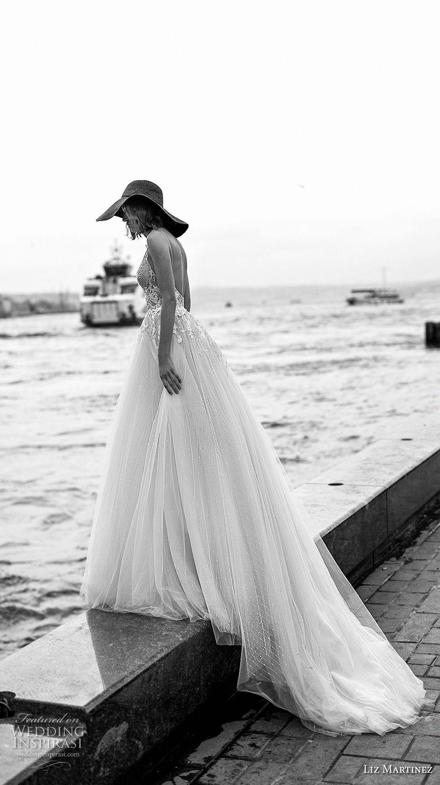 liz martinez 2019 bridal sleeveless thin strap sweetheart neckline heavily embellished bodice tulle skirt romantic a  line wedding dress open back chapel train (2) sdv