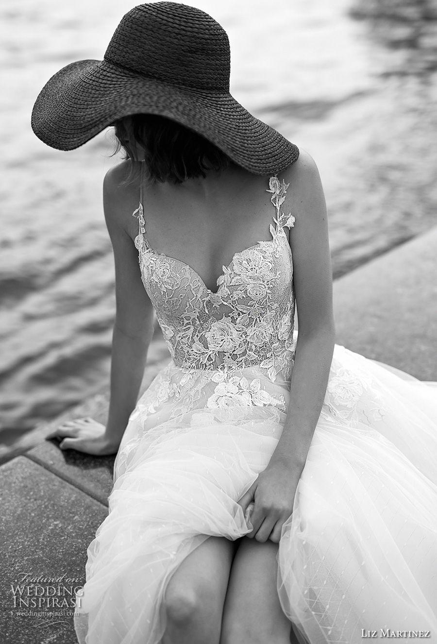 liz martinez 2019 bridal sleeveless thin strap sweetheart neckline heavily embellished bodice tulle skirt romantic a  line wedding dress open back chapel train (2) zv