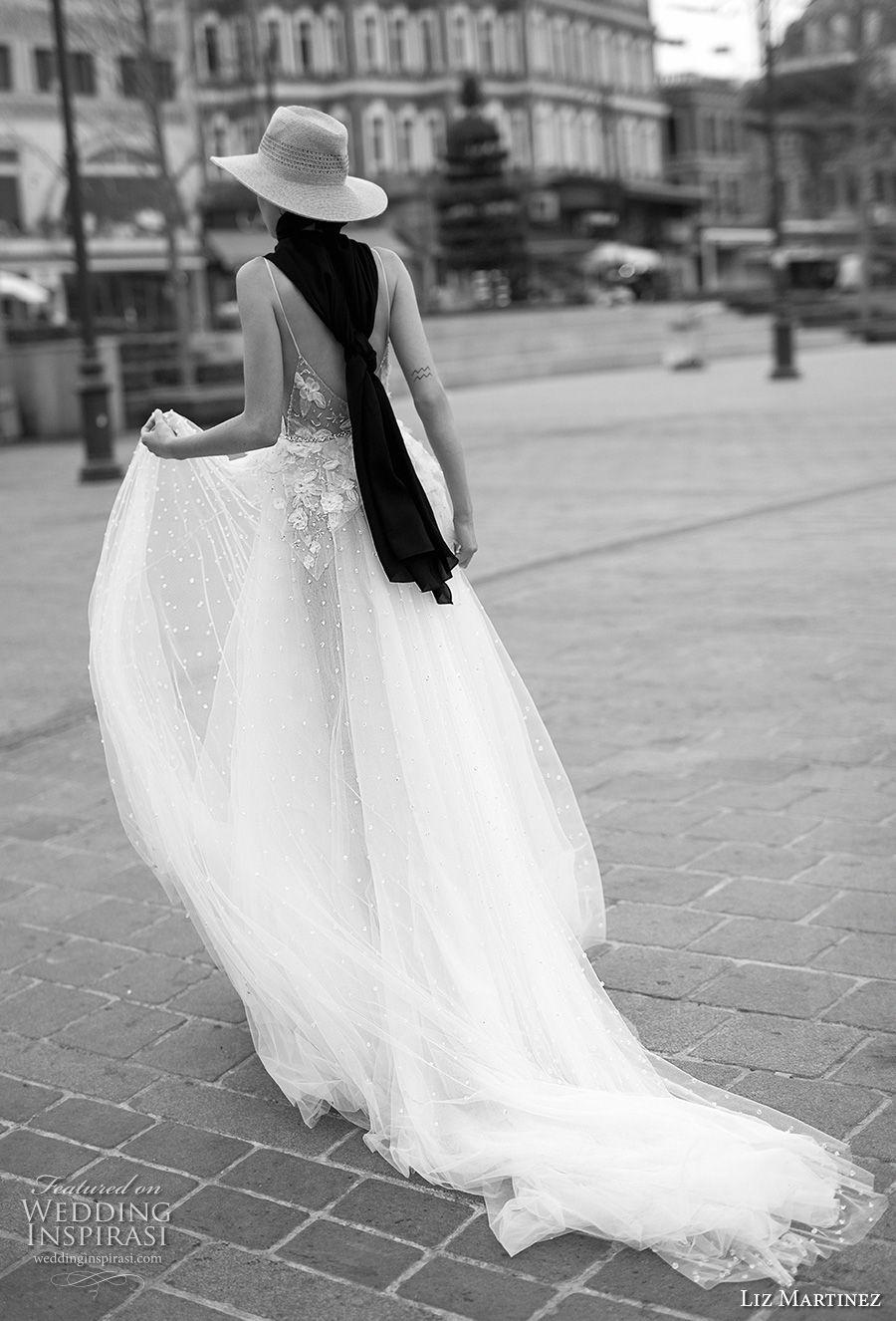 liz martinez 2019 bridal spaghetti strap deep diamond neck heavily embellished bodice romantic soft a  line wedding dress open back chapel train (5) bv
