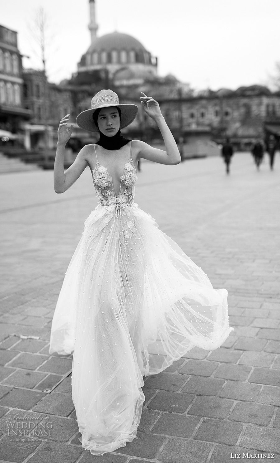 liz martinez 2019 bridal spaghetti strap deep diamond neck heavily embellished bodice romantic soft a  line wedding dress open back chapel train (5) mv