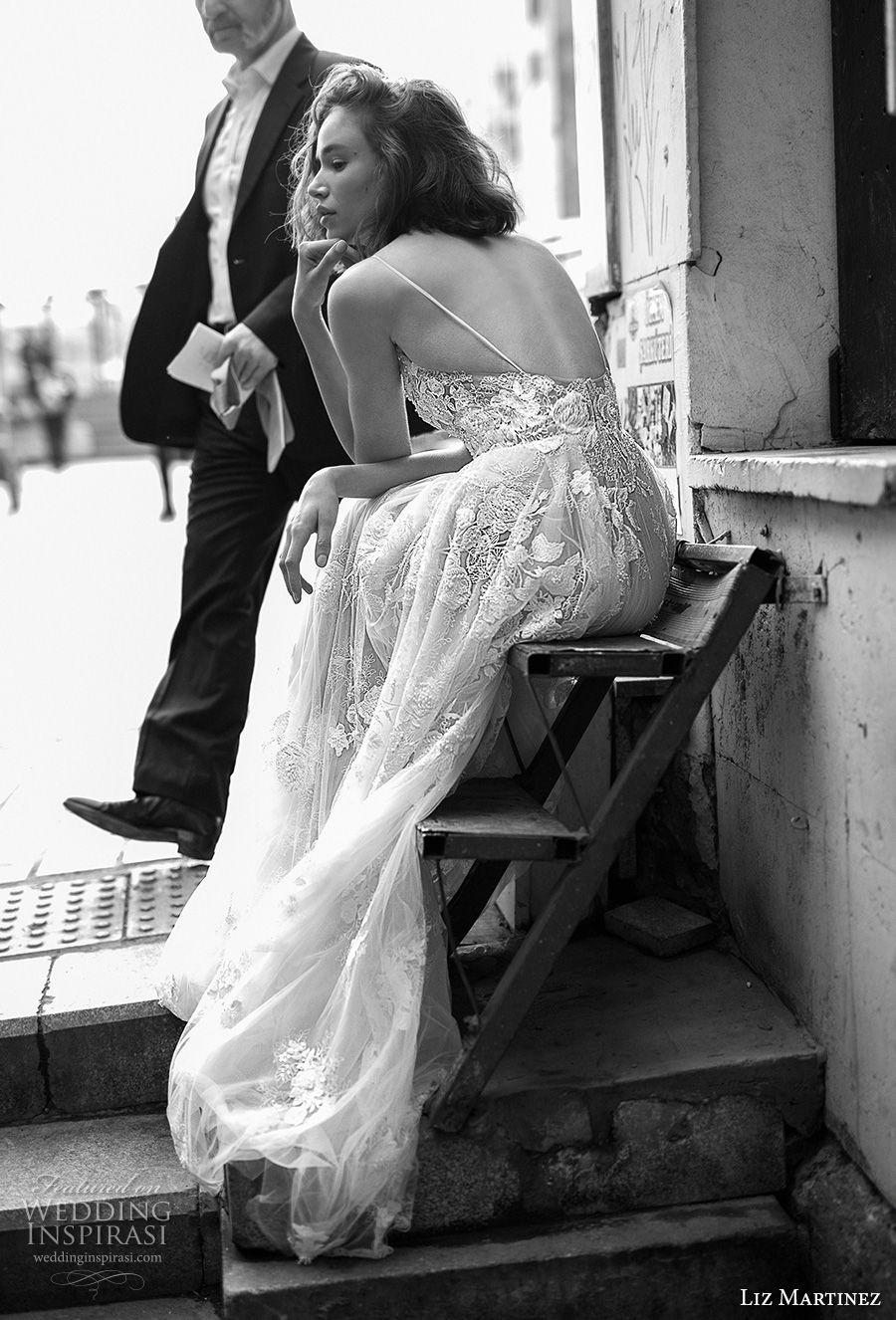 liz martinez 2019 bridal spaghetti strap deep plunging sweetheart neckling heavily embellished bodice romantic sexy soft a  line wedding dress open back (13) bv