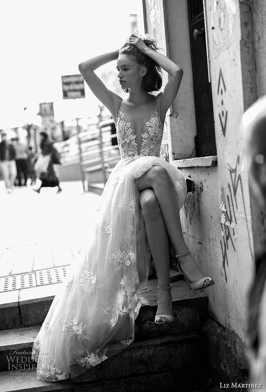 liz martinez 2019 bridal spaghetti strap deep plunging sweetheart neckling heavily embellished bodice romantic sexy soft a  line wedding dress open back (13) mv