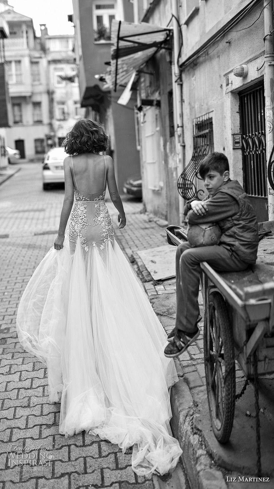liz martinez 2019 bridal spaghetti strap diamond neckline heavily embellished bodice romantic soft a  line wedding dress open scoop back chapel train (3) bv