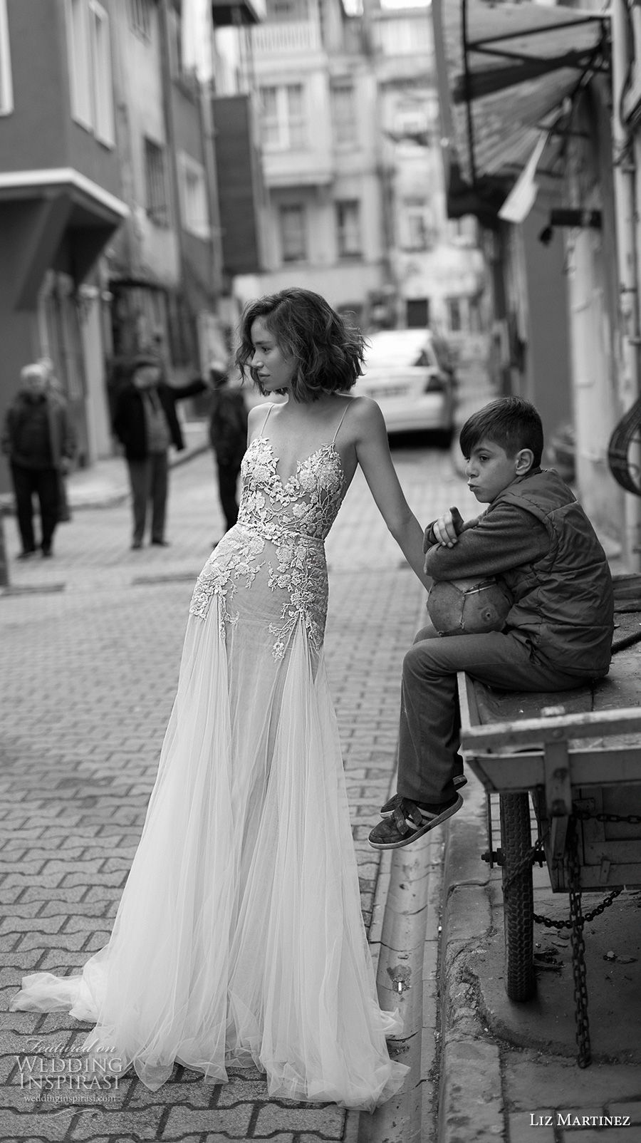 liz martinez 2019 bridal spaghetti strap diamond neckline heavily embellished bodice romantic soft a  line wedding dress open scoop back chapel train (3) mv