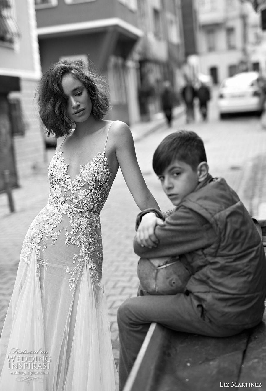 liz martinez 2019 bridal spaghetti strap diamond neckline heavily embellished bodice romantic soft a  line wedding dress open scoop back chapel train (3) zv