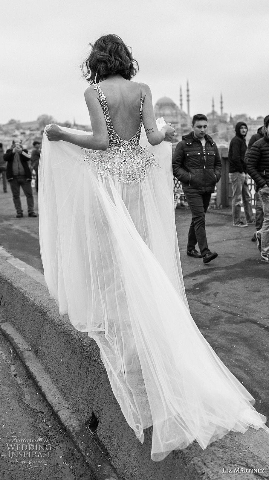 liz martinez 2019 bridal spaghetti strap v neck heavily embellished bodice tulle skirt romantic soft a  line wedding dress open scoop back chapel train (11) bv
