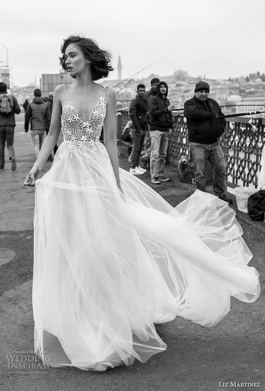liz martinez 2019 bridal spaghetti strap v neck heavily embellished bodice tulle skirt romantic soft a  line wedding dress open scoop back chapel train (11) mv