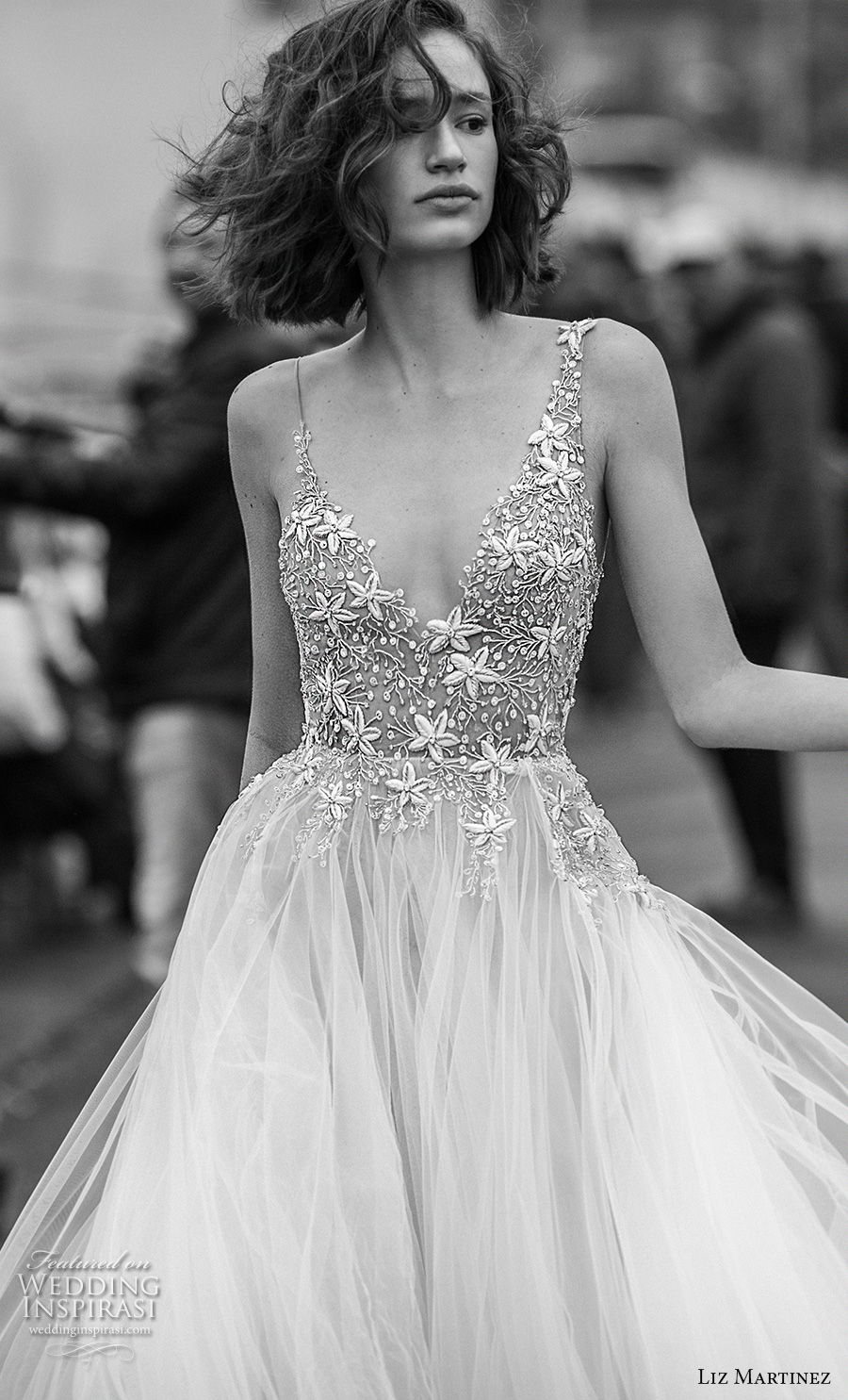 liz martinez 2019 bridal spaghetti strap v neck heavily embellished bodice tulle skirt romantic soft a  line wedding dress open scoop back chapel train (11) zv
