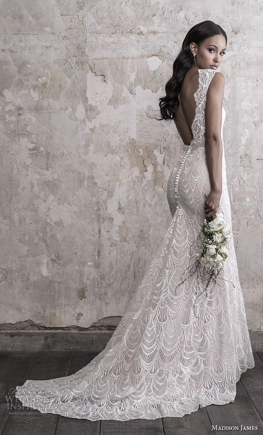 madison james fall 2018 bridal cap sleeves illusion bateau sweetheart neck heavily embellished bodice pleated skirt romantic soft a  line wedding dress scoop back chapel train (6) bv