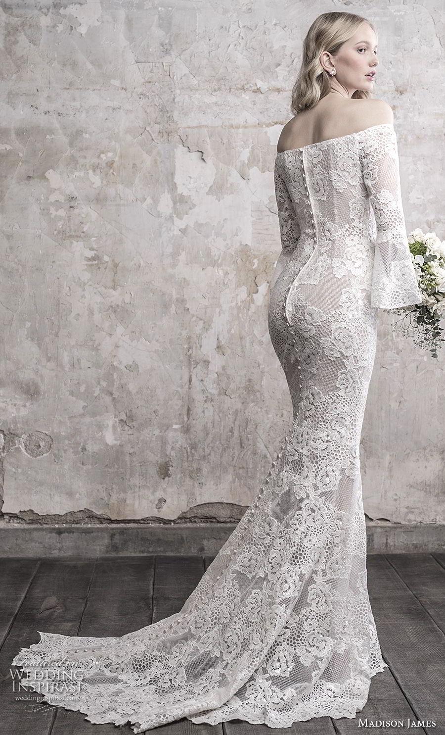 madison james fall 2018 bridal long funnel sleeves off the shoulder straight across neckline full embellishment elegant fit and flare wedding dress sweep train (13) bv