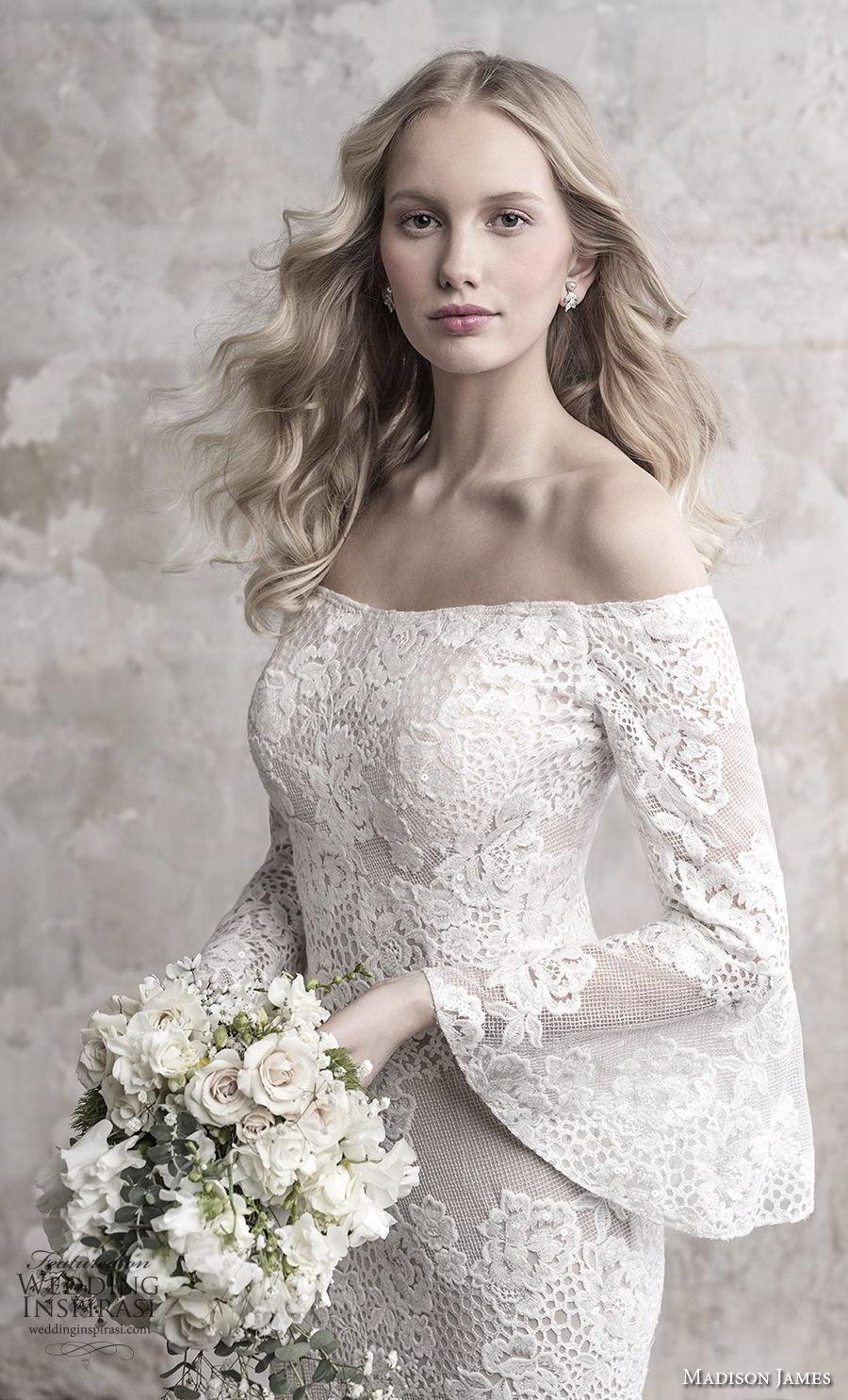 madison james fall 2018 bridal long funnel sleeves off the shoulder straight across neckline full embellishment elegant fit and flare wedding dress sweep train (13) zv