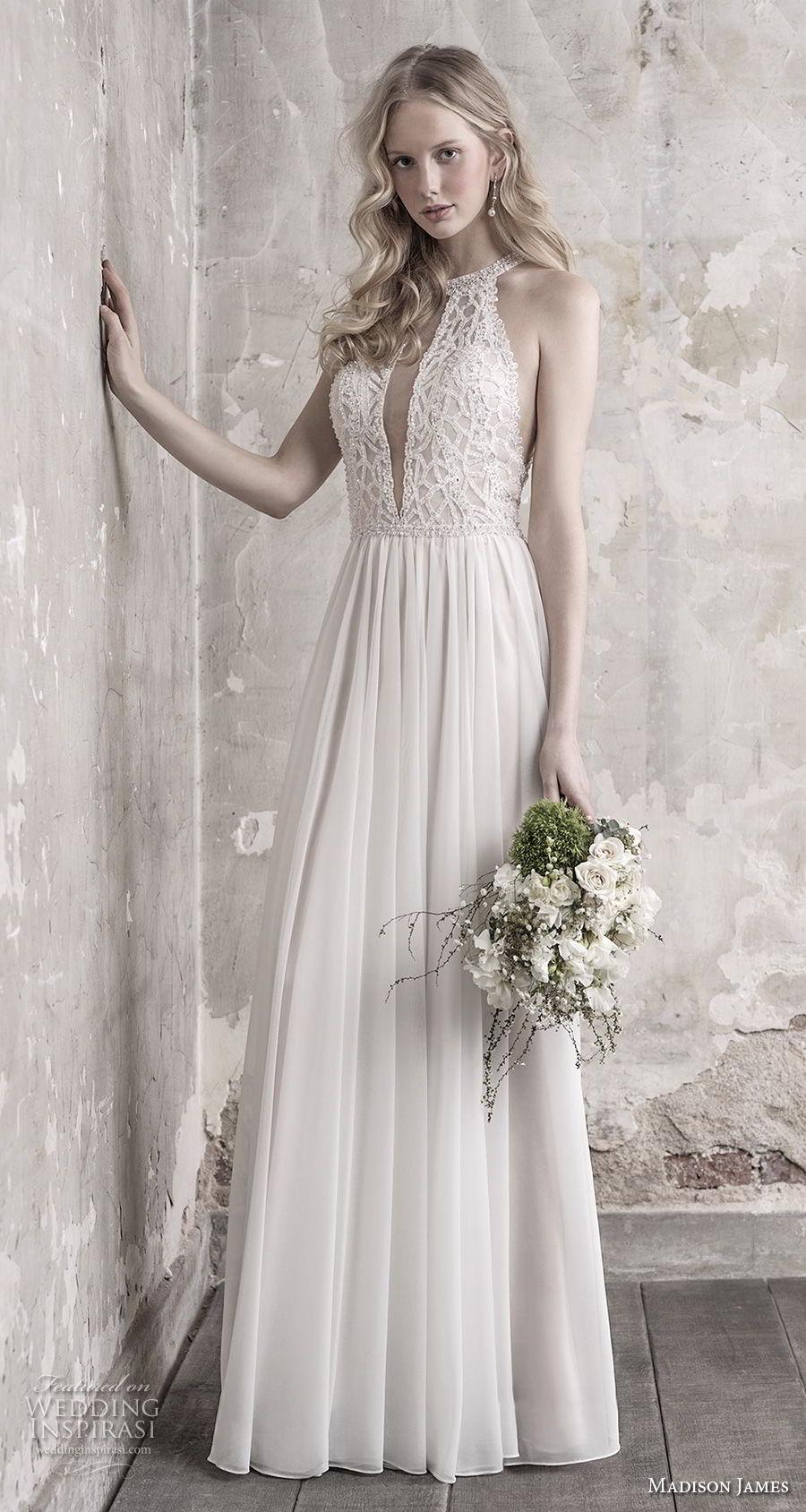madison james fall 2018 bridal sleeveless halter jewel neck heavily embellised bodice pleated skirt romantic modified a  line wedding dress lace back chapel train (5) mv