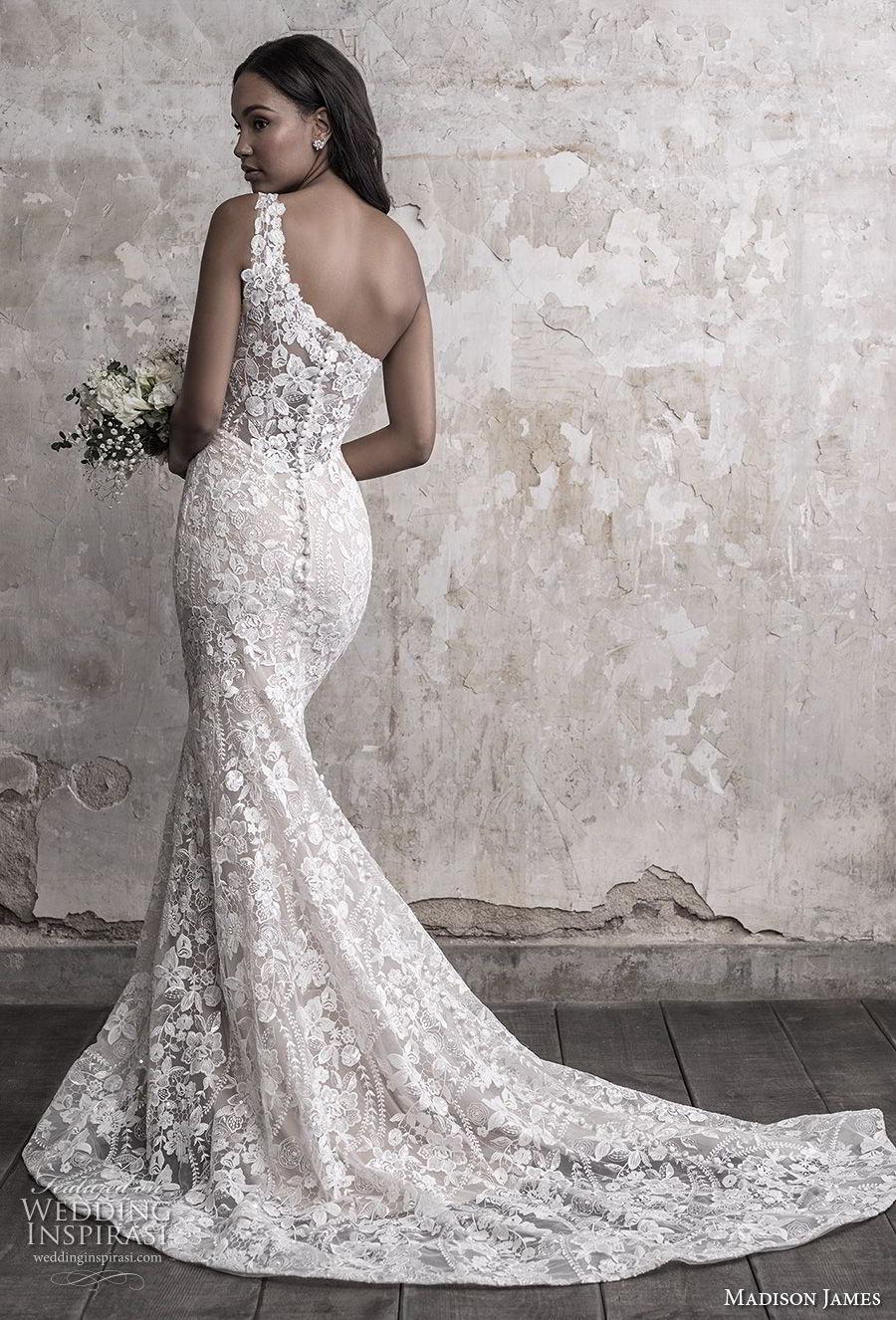 madison james fall 2018 bridal sleeveless one shoulder full embellishment elegant fit and flare wedding dress chapel train (10) bv