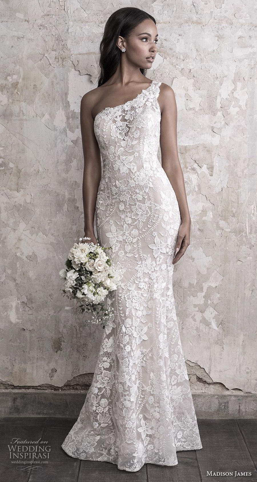 madison james fall 2018 bridal sleeveless one shoulder full embellishment elegant fit and flare wedding dress chapel train (10) mv