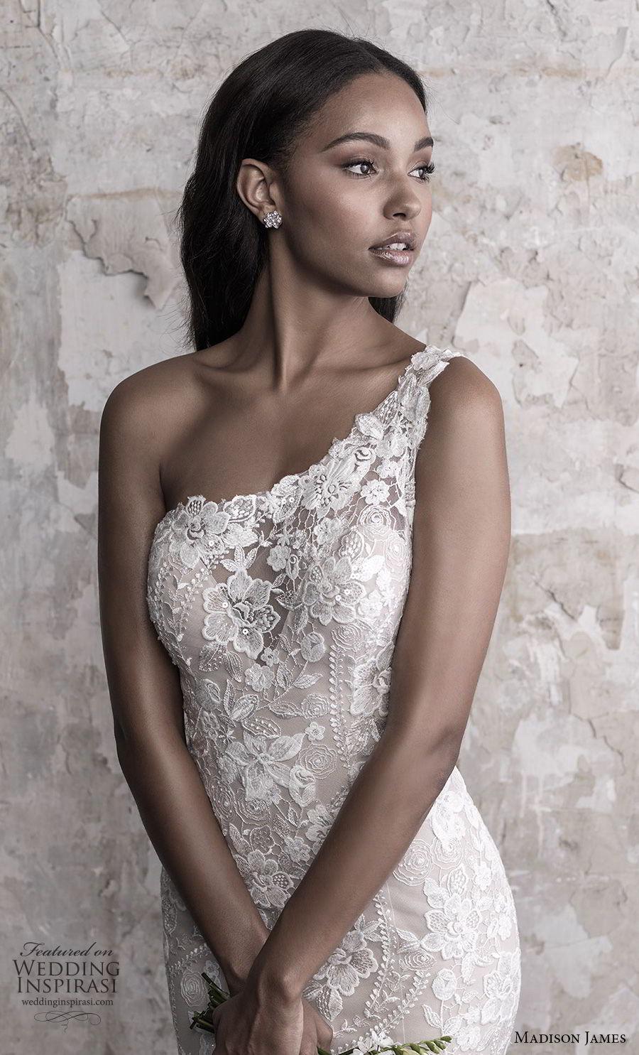 madison james fall 2018 bridal sleeveless one shoulder full embellishment elegant fit and flare wedding dress chapel train (10) zv